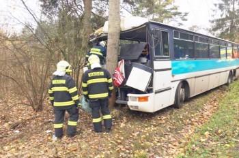 В Чехии автобус с детьми врезался в дерево